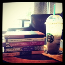 my personal library, photgraphed at Starbucks